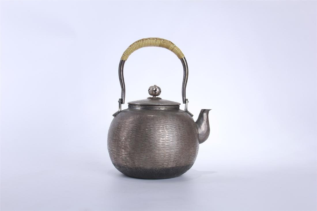 JAPANESE SILVER TEA POT - 5