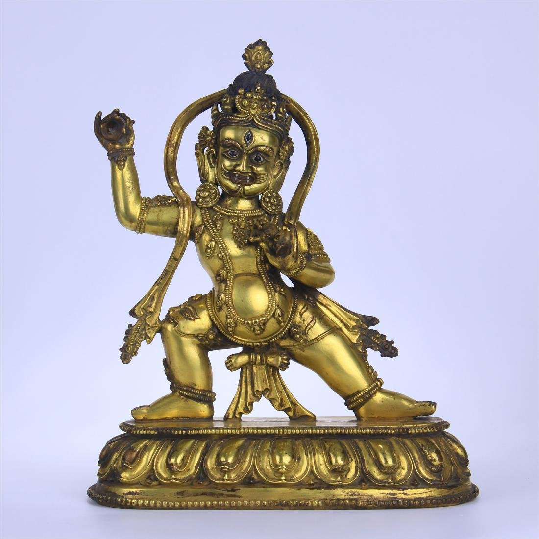 CHINESE GILT BRONZE STANDING THREE EYES BUDDHA
