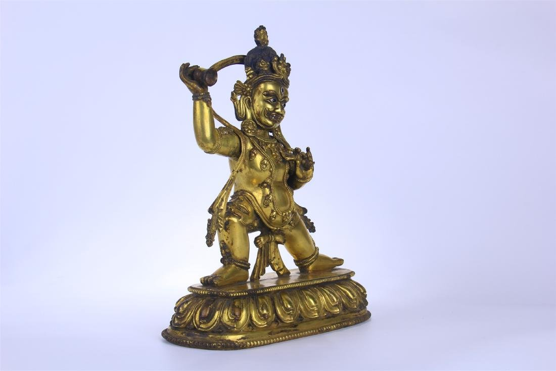 CHINESE GILT BRONZE STANDING THREE EYES BUDDHA - 5
