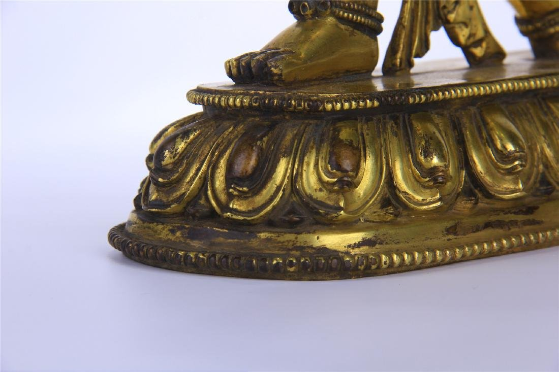 CHINESE GILT BRONZE STANDING THREE EYES BUDDHA - 6