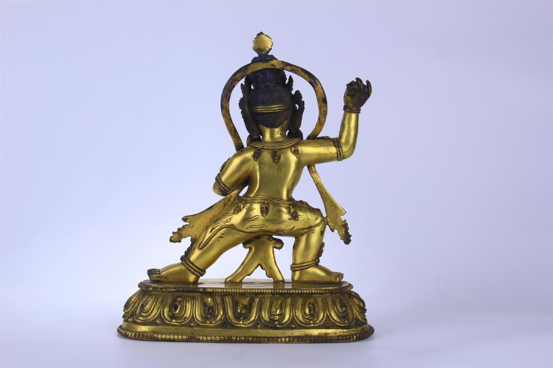 CHINESE GILT BRONZE STANDING THREE EYES BUDDHA - 7