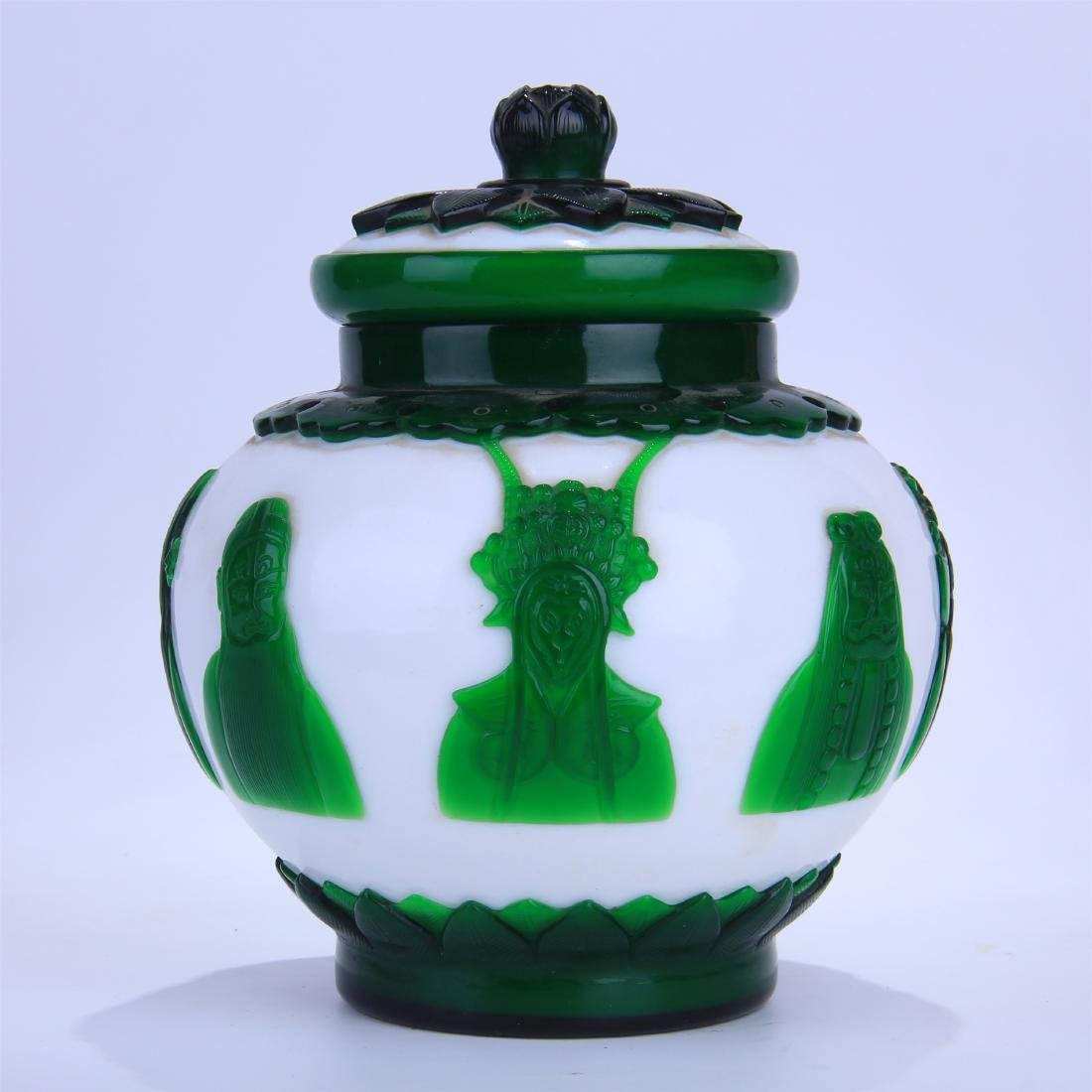 CHINESE DOUBLE COLOR GREEN AND WHITE PEKING GLASS