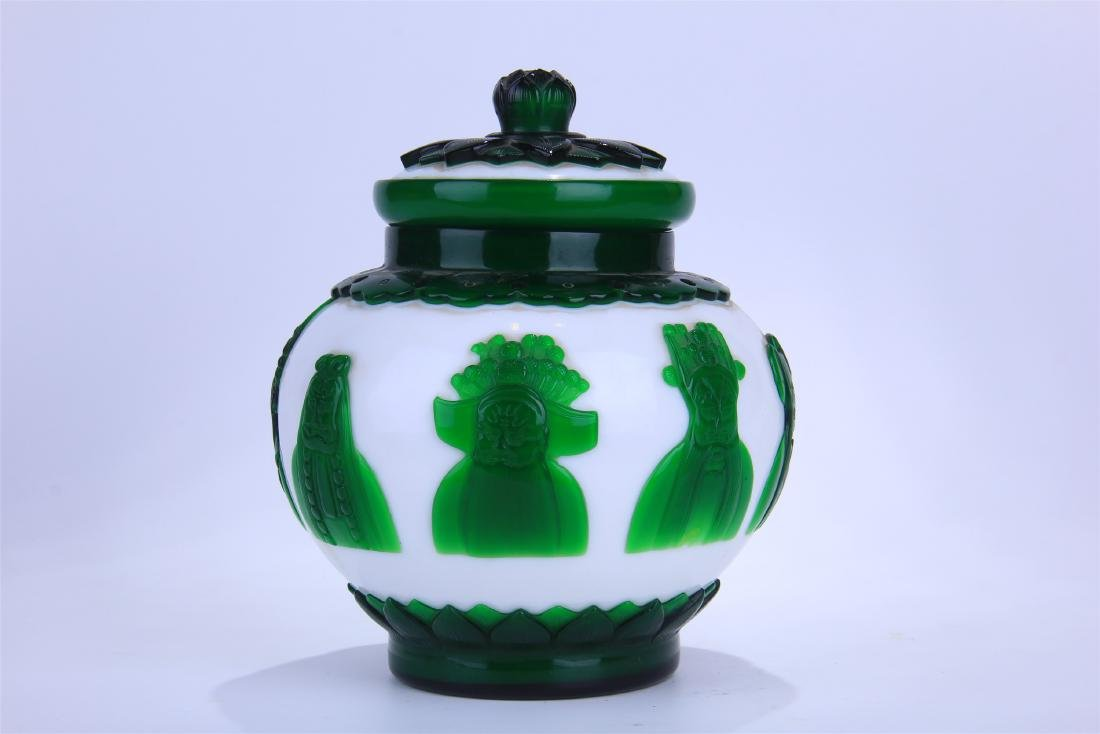CHINESE DOUBLE COLOR GREEN AND WHITE PEKING GLASS - 2