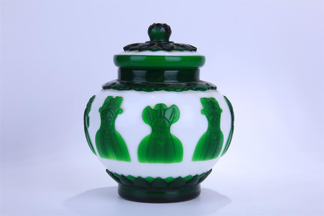 CHINESE DOUBLE COLOR GREEN AND WHITE PEKING GLASS - 3