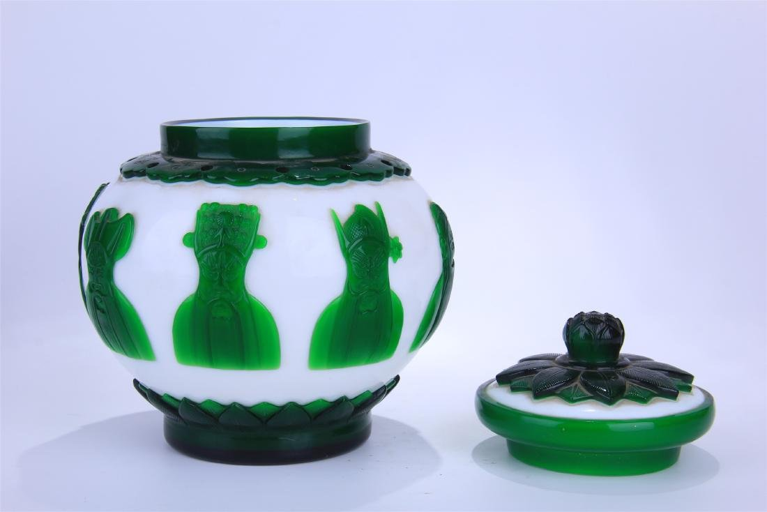 CHINESE DOUBLE COLOR GREEN AND WHITE PEKING GLASS - 4