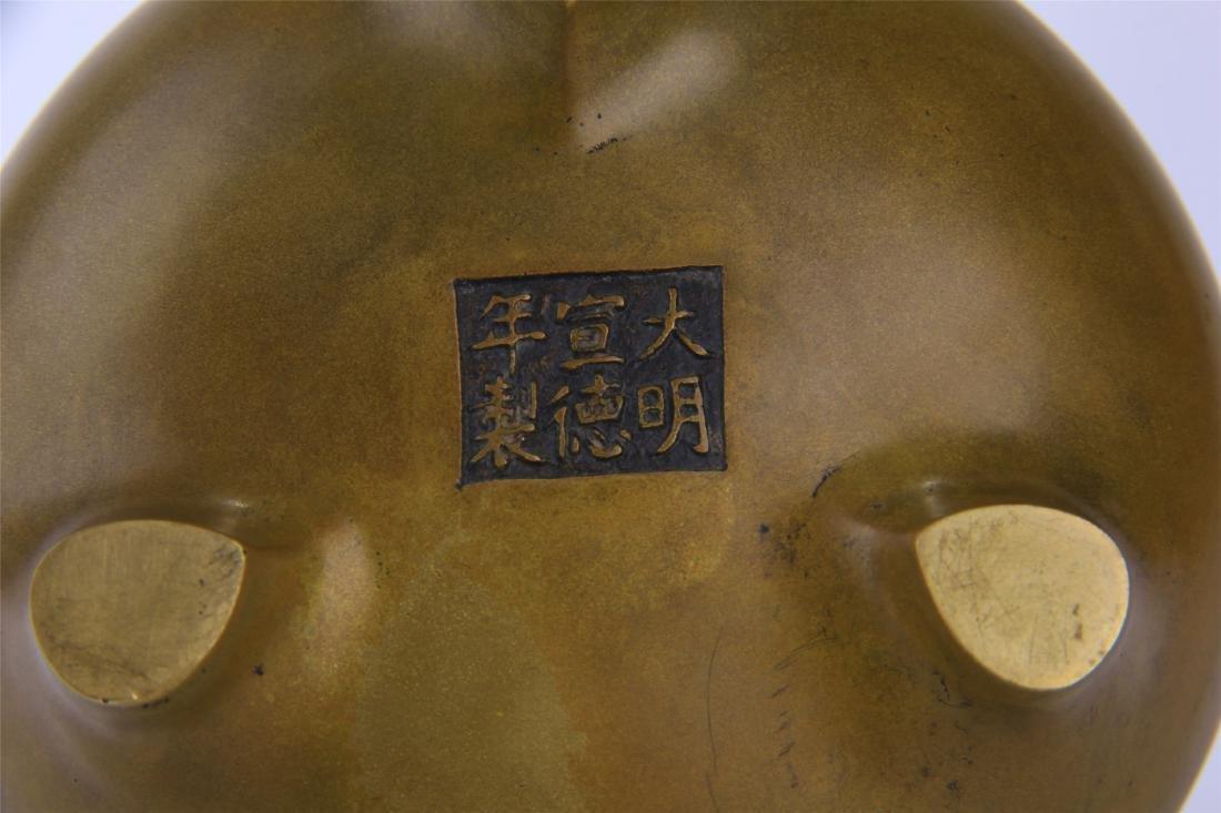 CHINESE COPPER TRIPLE FEET CENSER - 6