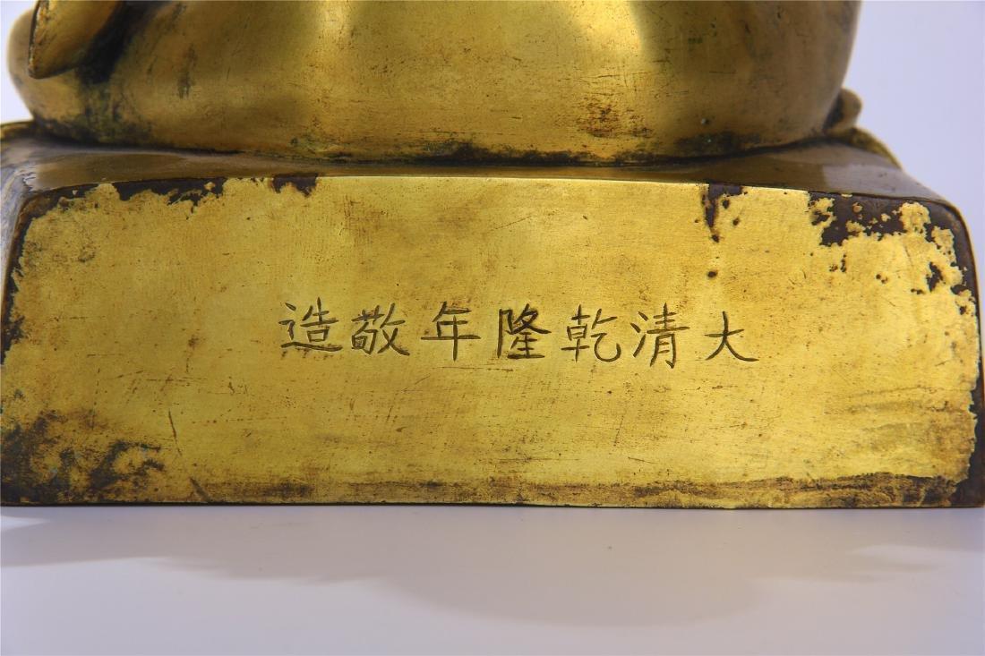CHINESE GILT BRONZE SEATED BUDDHA - 8