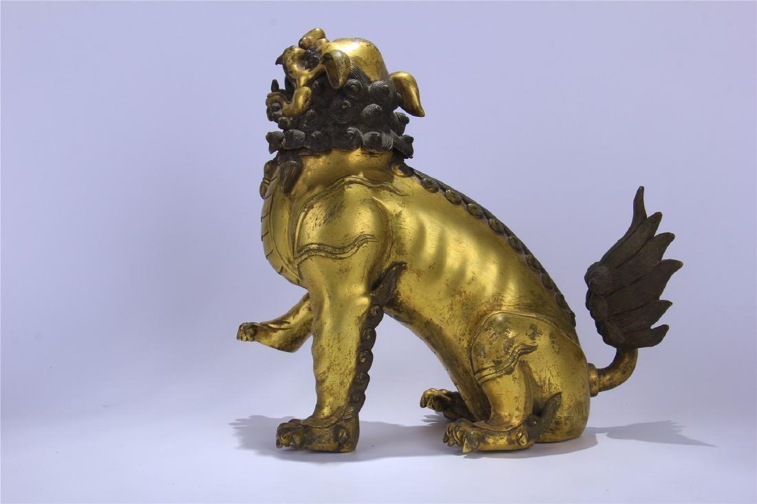CHINESE GILT BRONZE FO DOG - 8