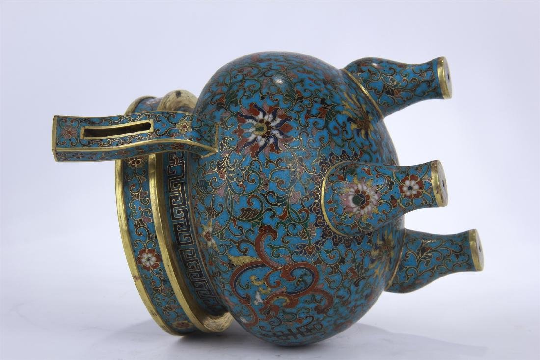 CHINESE CLOISONNE TRIPLE FEET CENSER WITH WHITE JADE - 10