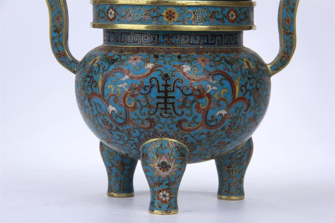 CHINESE CLOISONNE TRIPLE FEET CENSER WITH WHITE JADE - 3