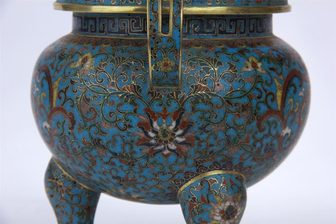 CHINESE CLOISONNE TRIPLE FEET CENSER WITH WHITE JADE - 5