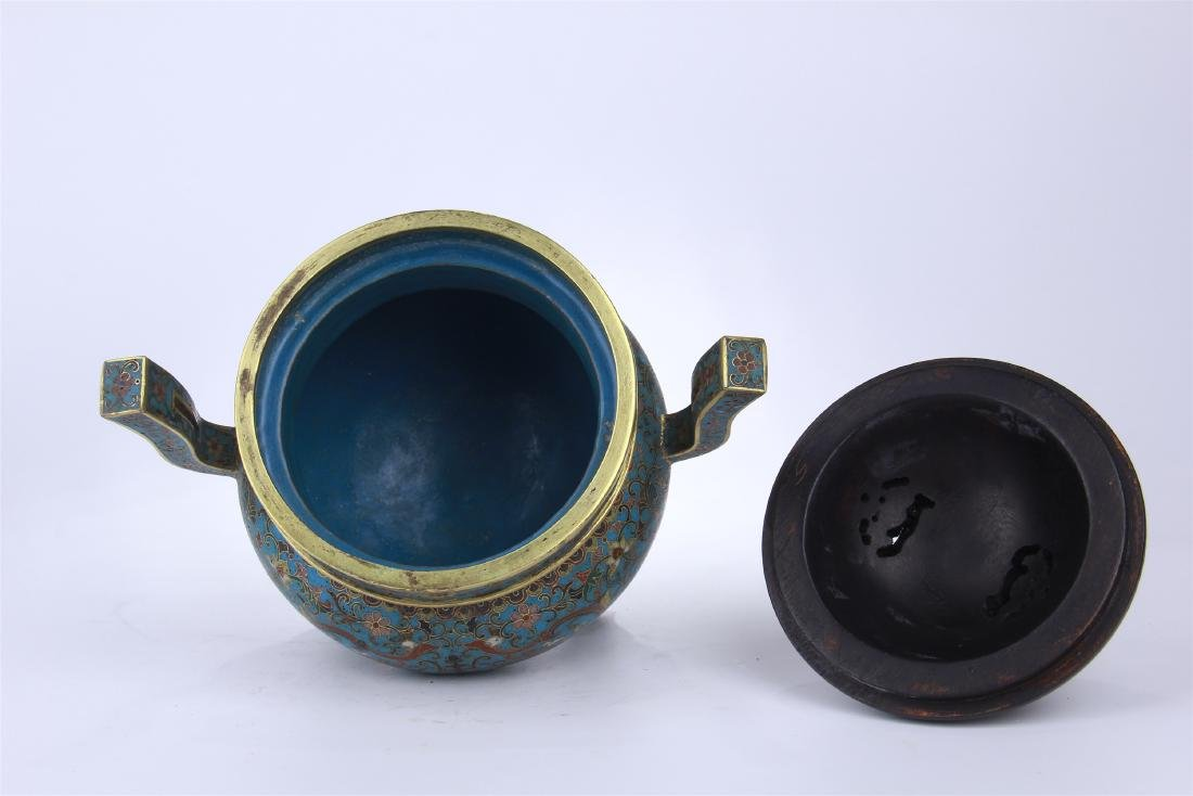 CHINESE CLOISONNE TRIPLE FEET CENSER WITH WHITE JADE - 7