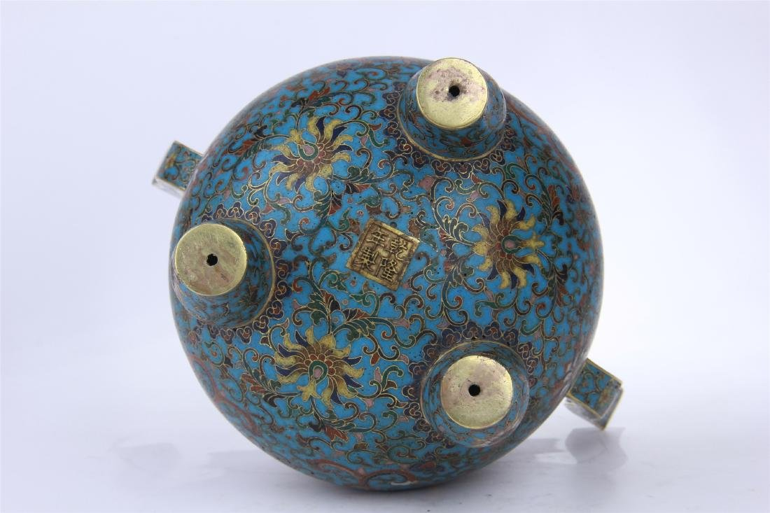 CHINESE CLOISONNE TRIPLE FEET CENSER WITH WHITE JADE - 8