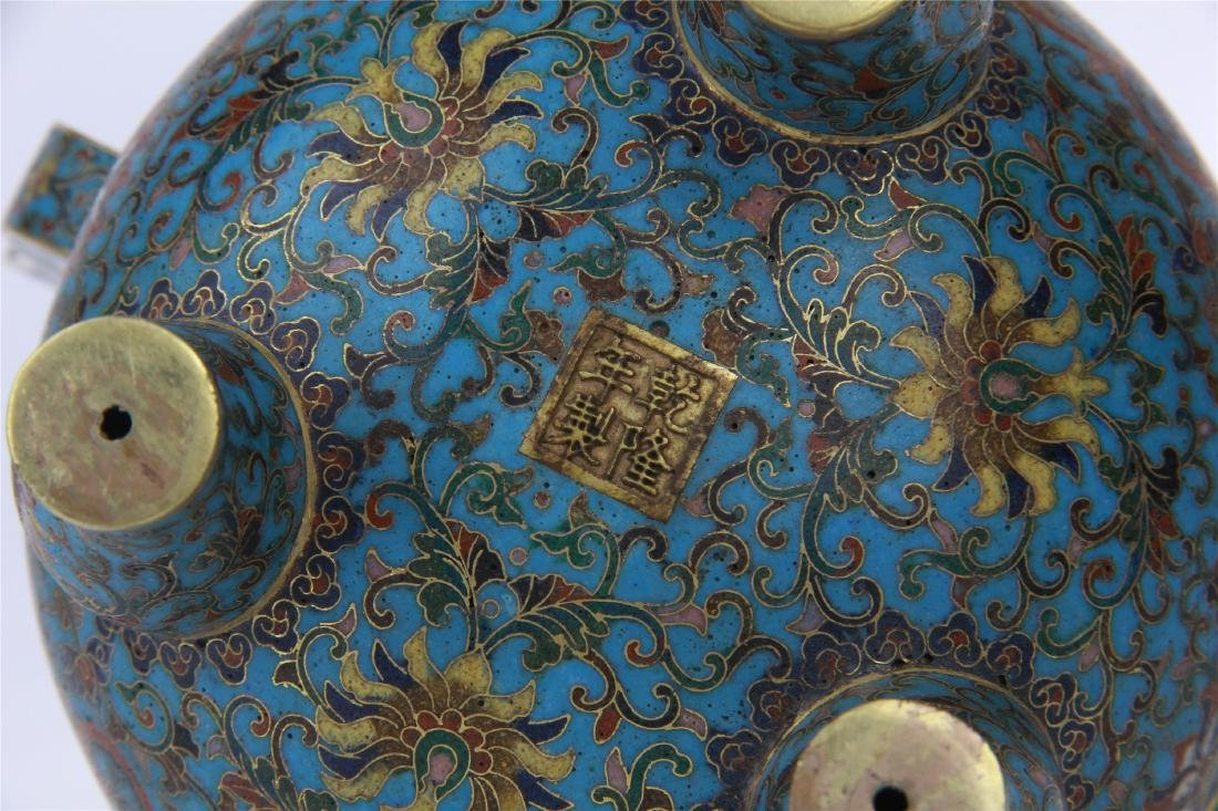 CHINESE CLOISONNE TRIPLE FEET CENSER WITH WHITE JADE - 9