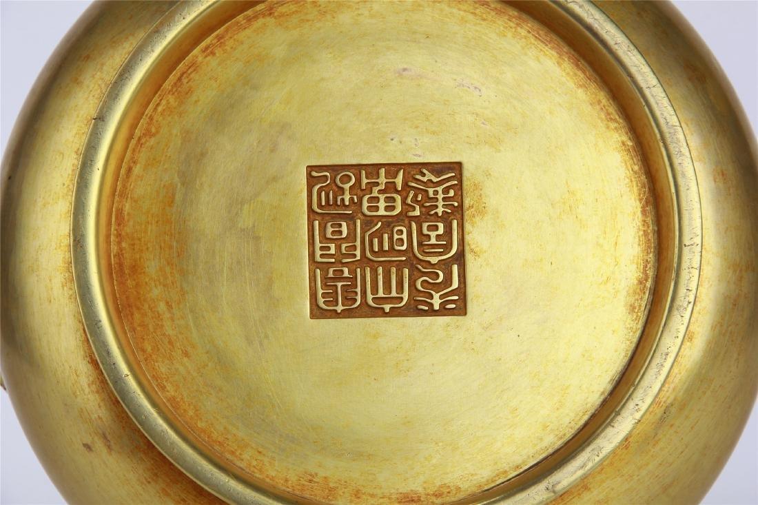 CHINESE GILT BRONZE ROUND CENSER - 10