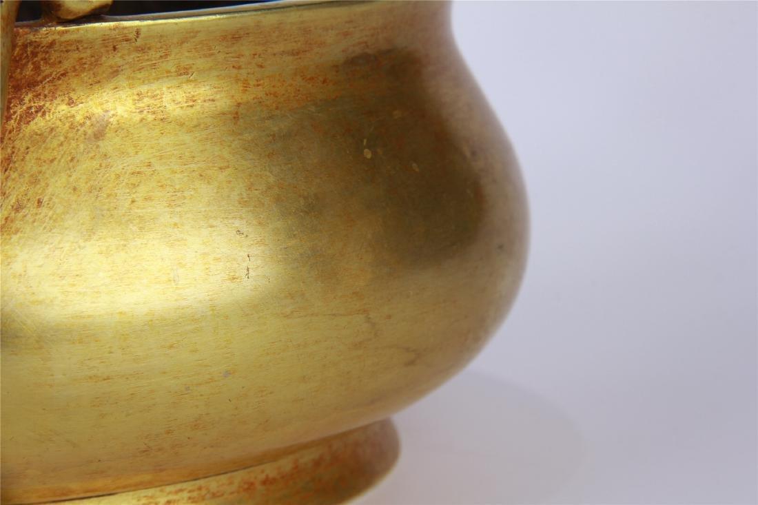 CHINESE GILT BRONZE ROUND CENSER - 5