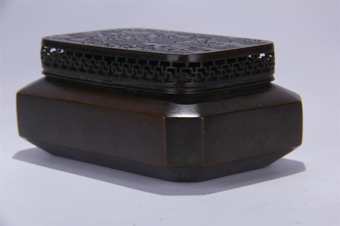 CHINESE BRONZE SQUARE INCENSE CAGE - 2