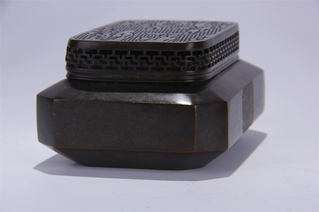 CHINESE BRONZE SQUARE INCENSE CAGE - 3