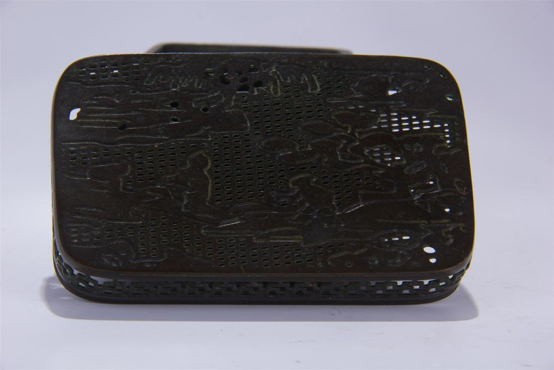 CHINESE BRONZE SQUARE INCENSE CAGE - 4