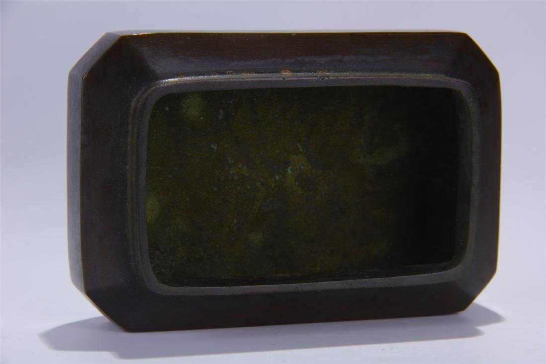 CHINESE BRONZE SQUARE INCENSE CAGE - 5