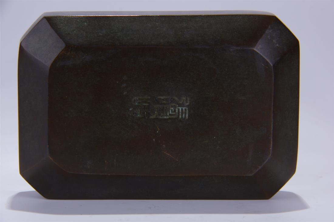 CHINESE BRONZE SQUARE INCENSE CAGE - 6