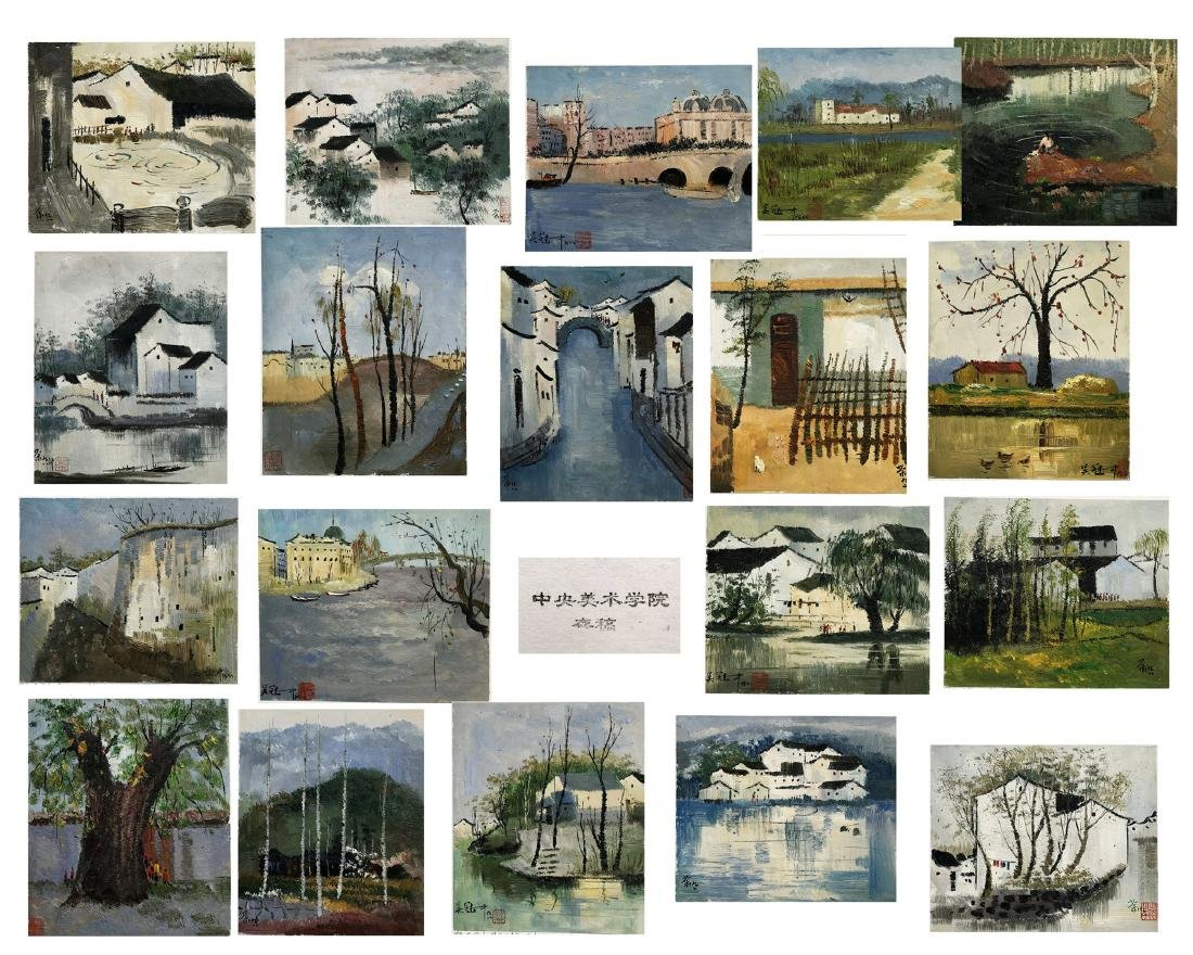 NINETEEN PAGES OF CHINESE WATERCOLOR PAINTING OF