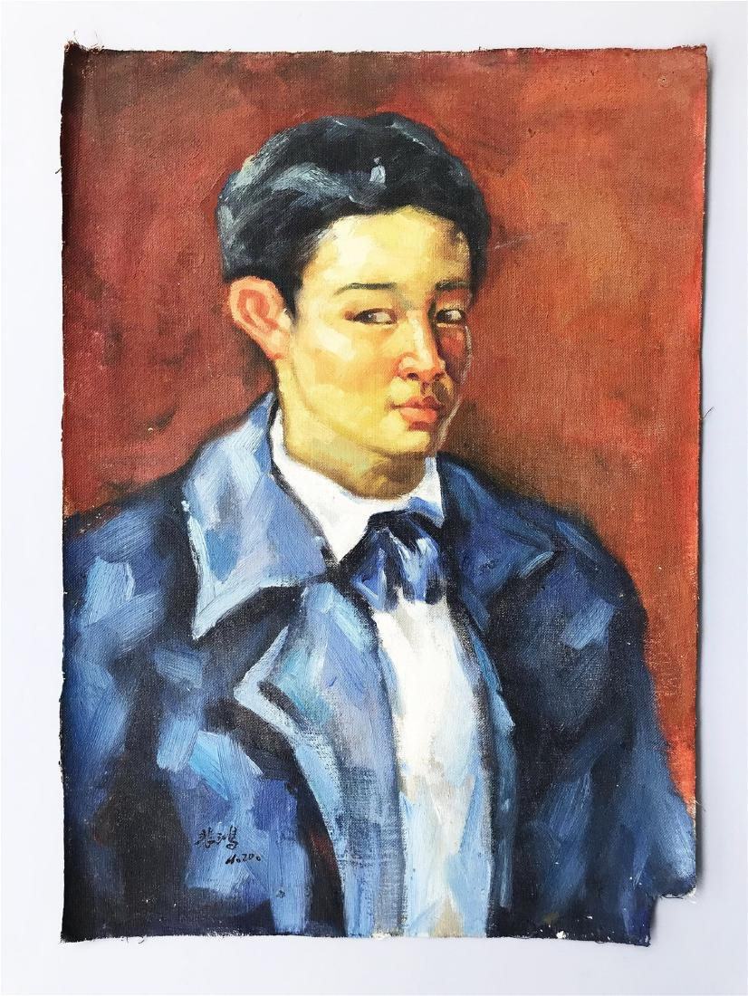 CHINESE OIL PAINTING OF A MAN ON CANVOS