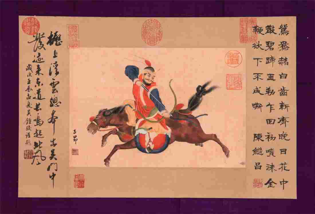 CHINESE SCROLL PAINTING OF WARRIOR ON HORSE