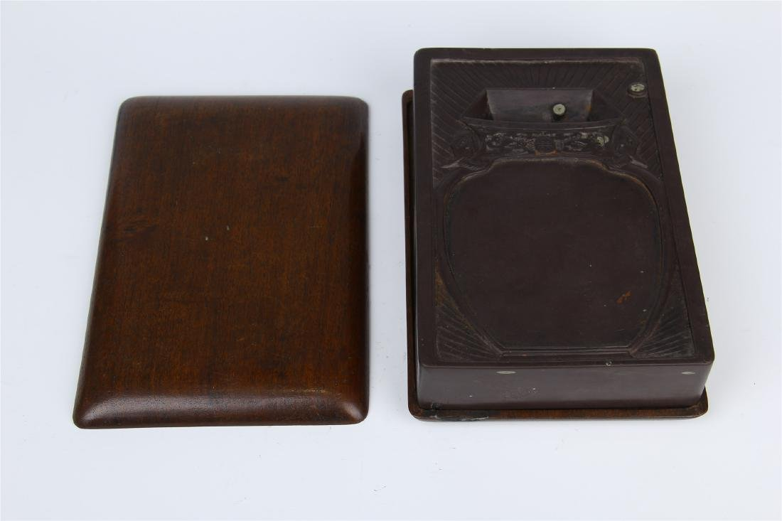 CHINESE DUAN STONE INK STONE WITH ROSEWOOD CASE