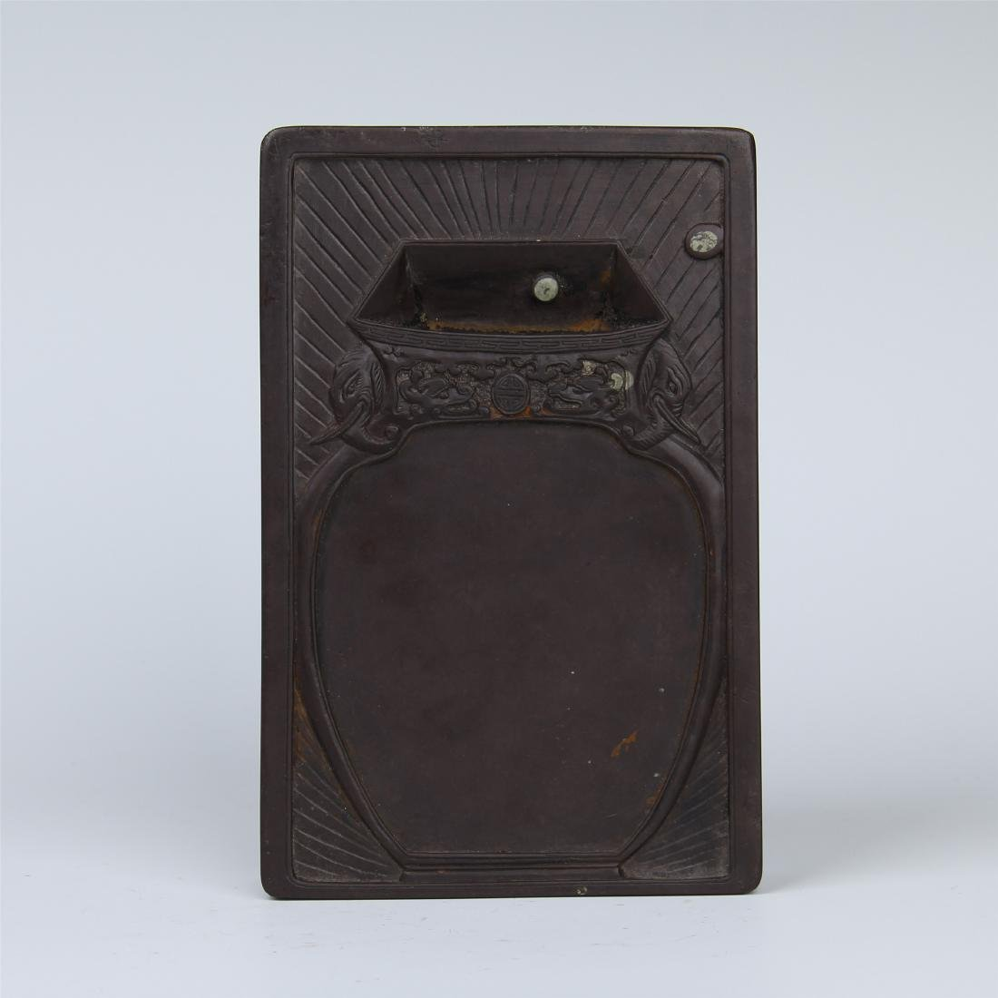 CHINESE DUAN STONE INK STONE WITH ROSEWOOD CASE - 2