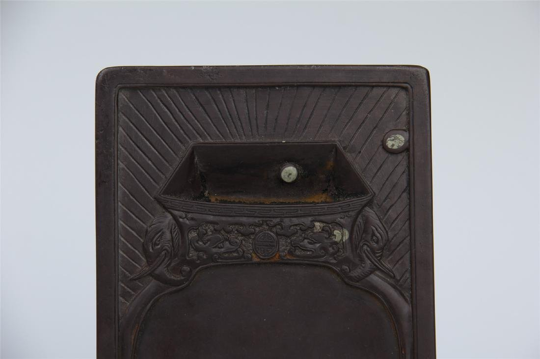 CHINESE DUAN STONE INK STONE WITH ROSEWOOD CASE - 3