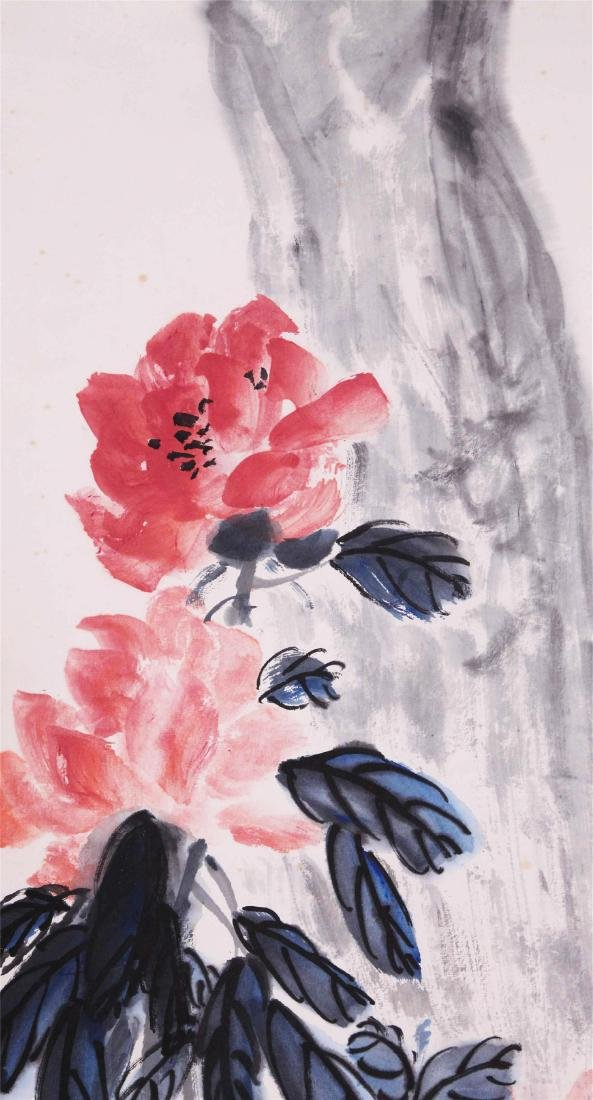 CHINESE SCROLL PAINTING OF FLOWER AND ROCK - 2