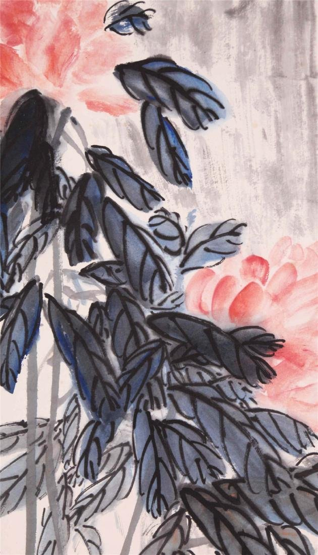 CHINESE SCROLL PAINTING OF FLOWER AND ROCK - 3