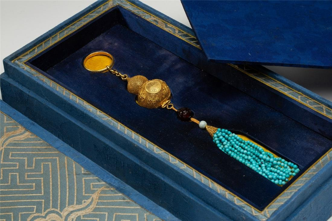 CHINESE PURE GOLD INSENCE CAGE WITH TURQUOISE TASSELS - 2
