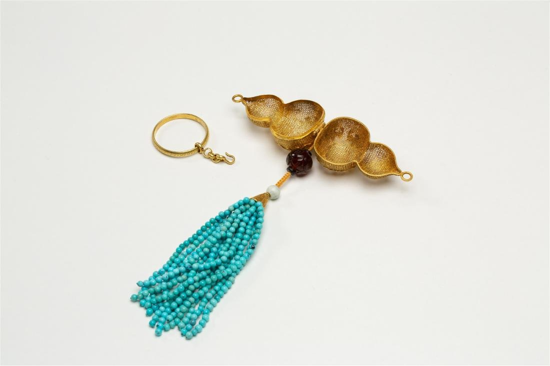 CHINESE PURE GOLD INSENCE CAGE WITH TURQUOISE TASSELS - 3