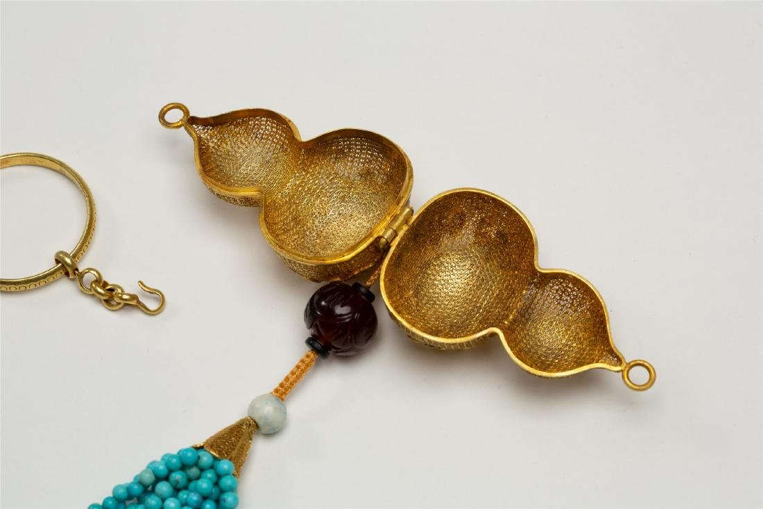 CHINESE PURE GOLD INSENCE CAGE WITH TURQUOISE TASSELS - 4