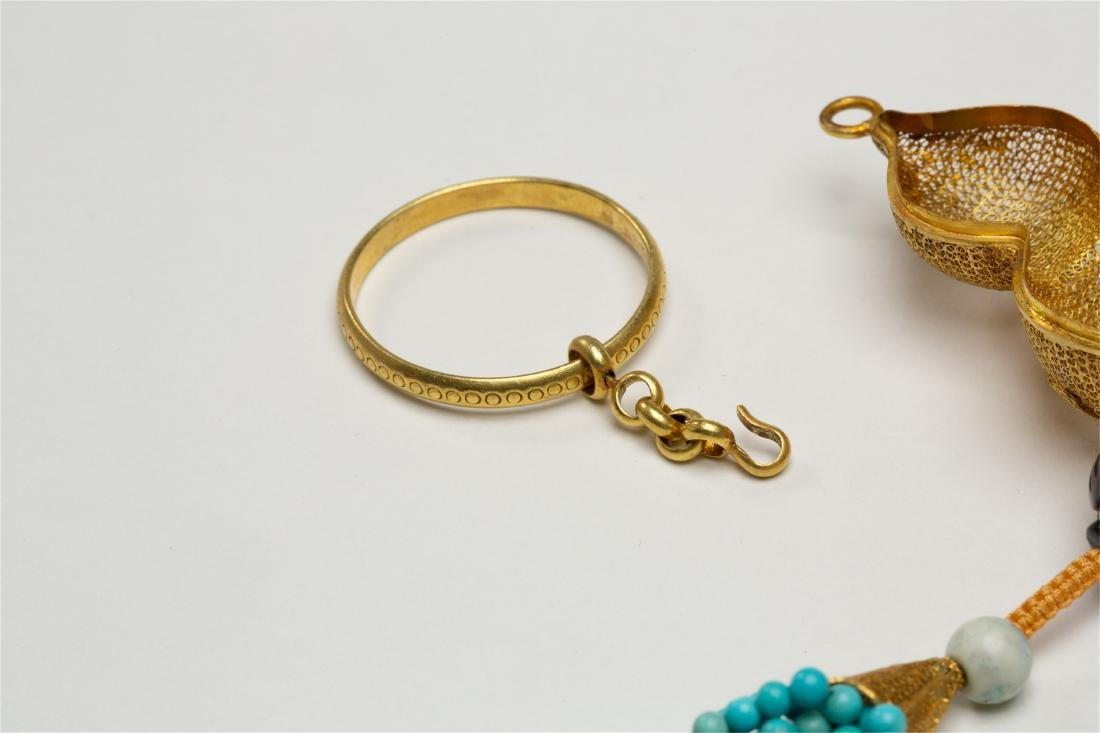 CHINESE PURE GOLD INSENCE CAGE WITH TURQUOISE TASSELS - 5
