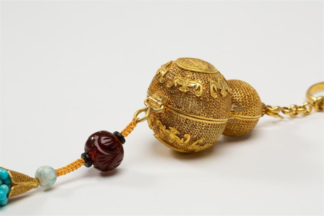 CHINESE PURE GOLD INSENCE CAGE WITH TURQUOISE TASSELS - 7