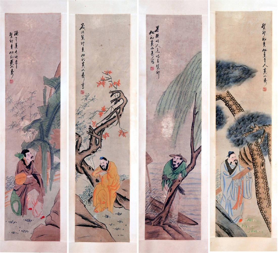FOUR PANELS OF CHINESE SCROLL PAINTING OF MEN AND TREE