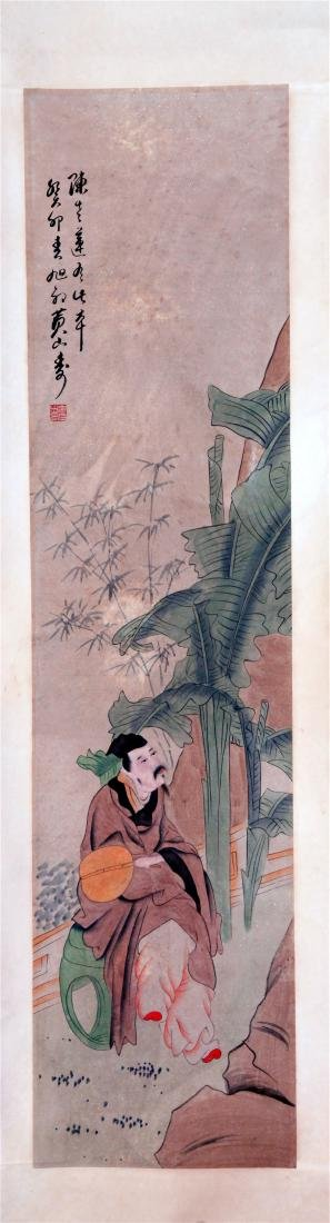 FOUR PANELS OF CHINESE SCROLL PAINTING OF MEN AND TREE - 2