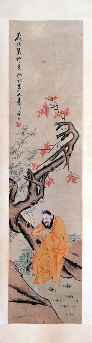 FOUR PANELS OF CHINESE SCROLL PAINTING OF MEN AND TREE - 4