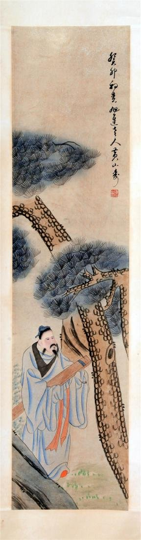 FOUR PANELS OF CHINESE SCROLL PAINTING OF MEN AND TREE - 7