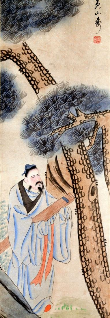 FOUR PANELS OF CHINESE SCROLL PAINTING OF MEN AND TREE - 8