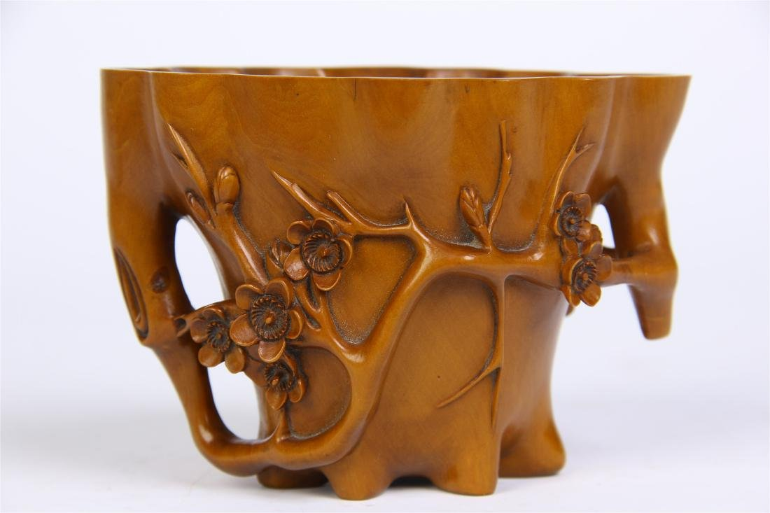 CHINESE BOXWOOD FLOWER JUE CUP WITH BASE - 5