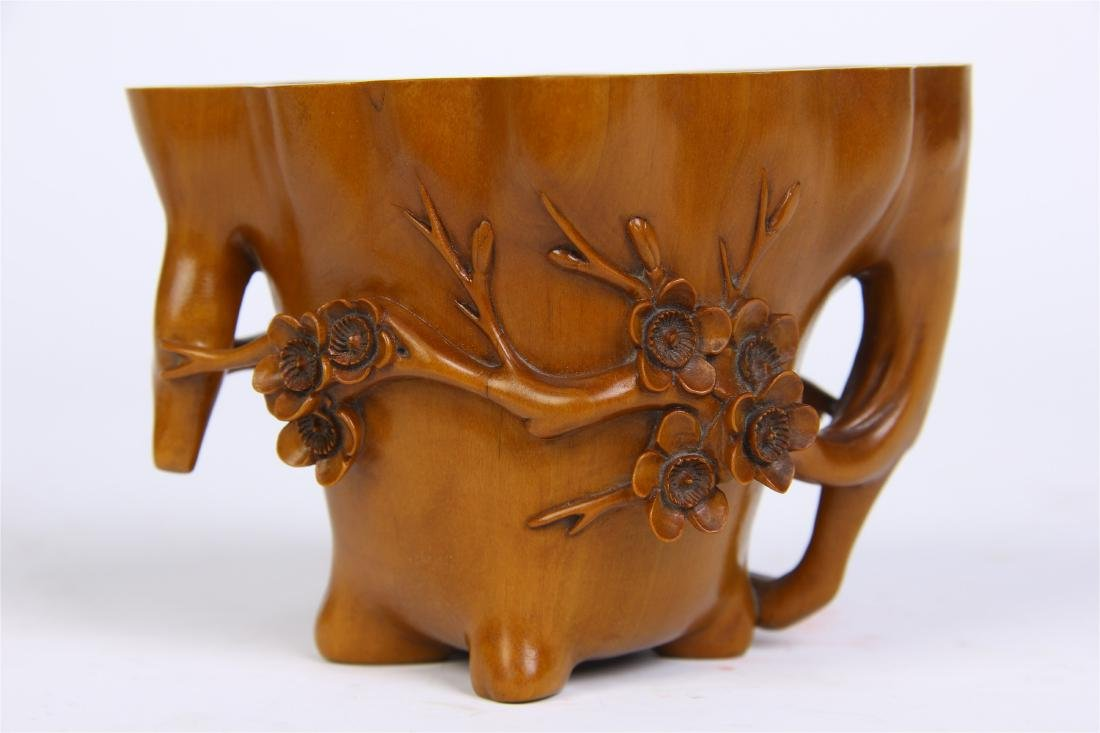 CHINESE BOXWOOD FLOWER JUE CUP WITH BASE - 6