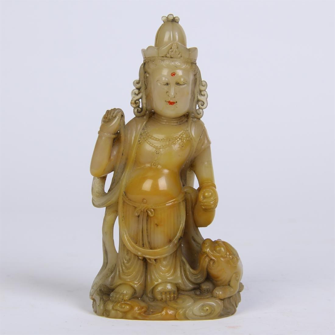 CHINESE SOAPSTONE STANDING BUDDHA