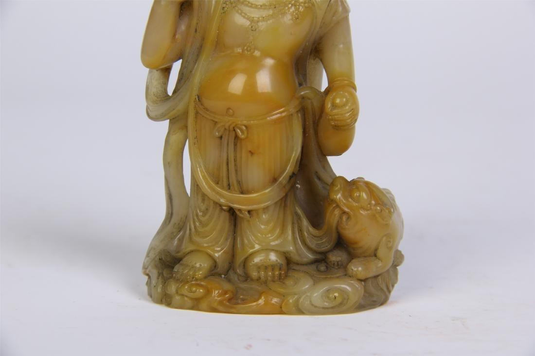 CHINESE SOAPSTONE STANDING BUDDHA - 6