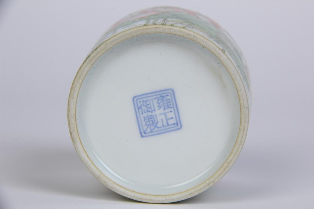 CHINESE PORCELAIN FAMILLE ROSE LOTUS LIDDED CYLINDERIAL - 10