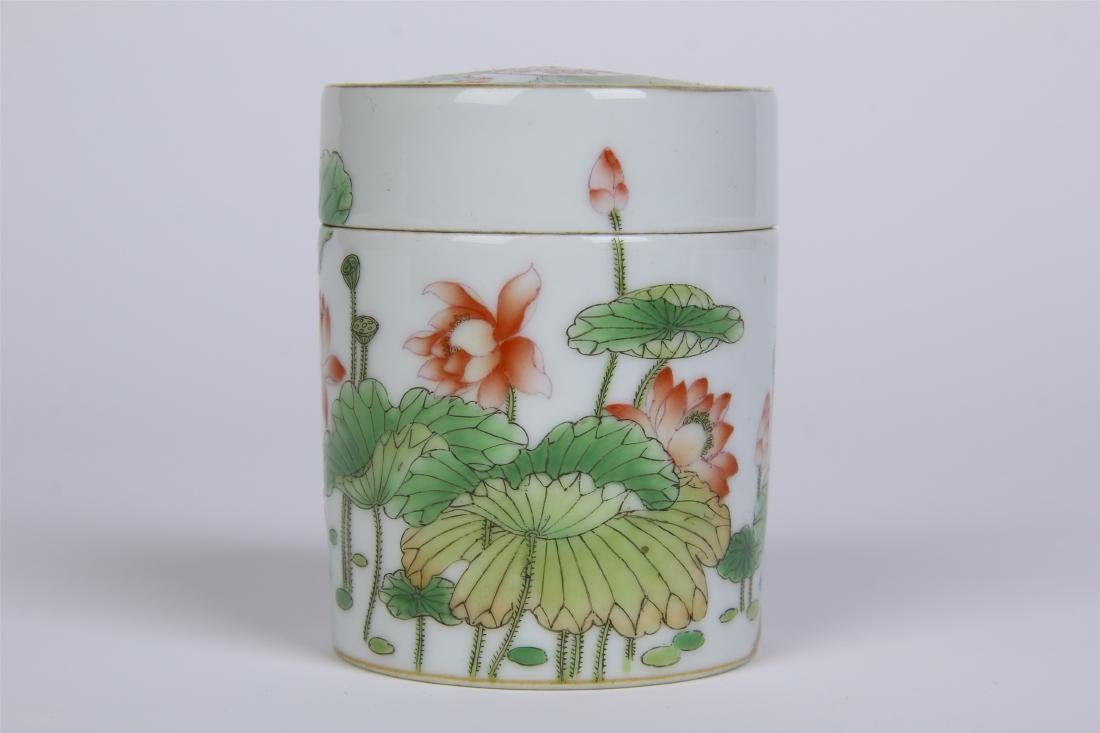 CHINESE PORCELAIN FAMILLE ROSE LOTUS LIDDED CYLINDERIAL - 2