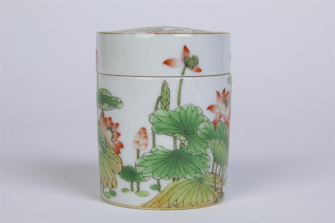 CHINESE PORCELAIN FAMILLE ROSE LOTUS LIDDED CYLINDERIAL - 3